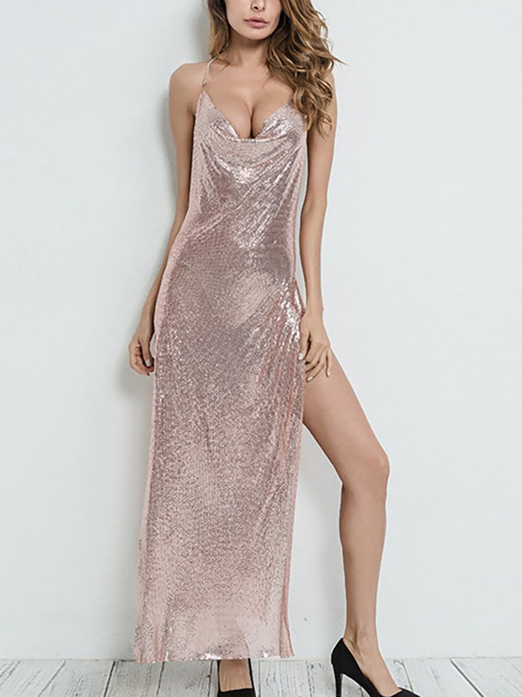 Sexy Sleeveless Sling Backless Sequin Maxi Dress