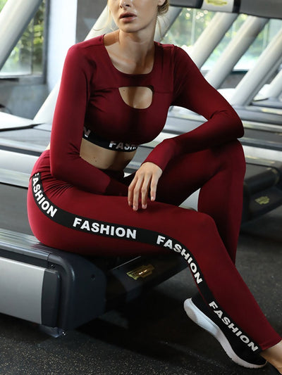 Skinny Long Sleeve Panel Yoga Set