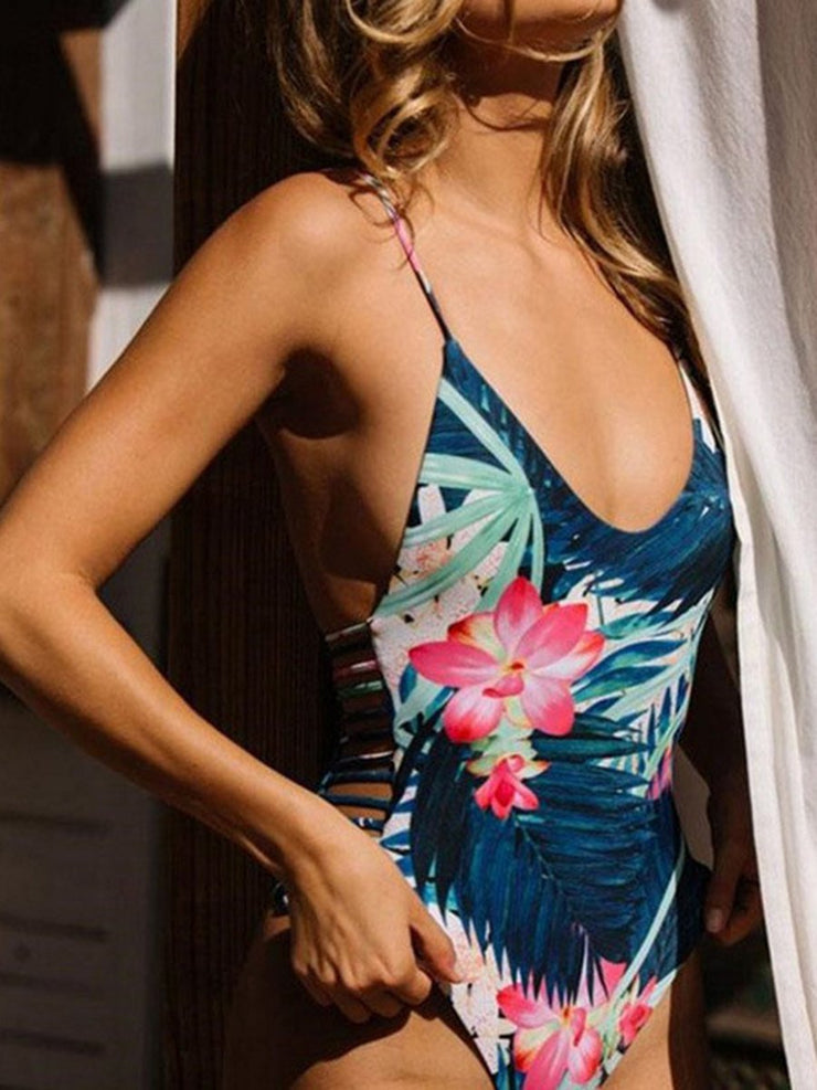 Sexy Random Floral Print Cut Out Design One-Pieces Swimwear