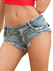 Sexy Low Rise Raw Cut Ripped Short Jeans