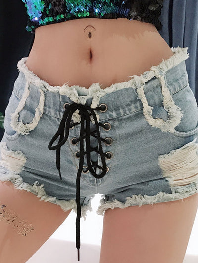 Sexy High Waist Ripped Denim Shorts Hot Pants