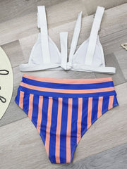 Striped Solid Color Lace Bikini