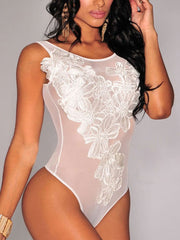 Embroidered Thong Bodysuit
