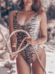 Sexy Tiger Print One-Piece Swimsuit