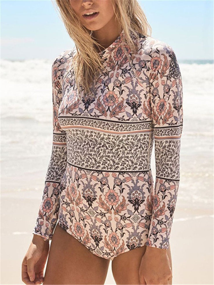 Sexy Backless Fashion Print Zip Up One Piece Swimsuit