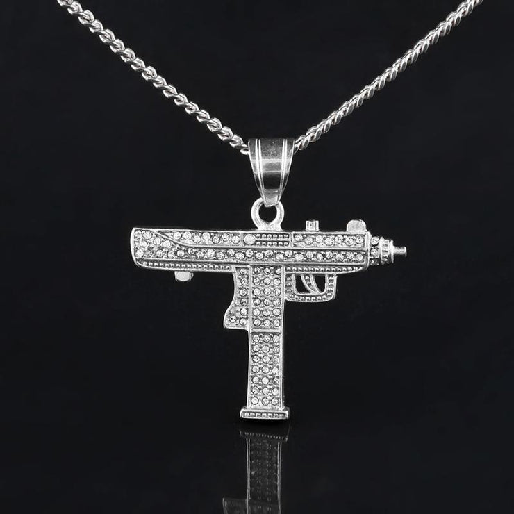 Hip Hop Fashion Submachine Gun Pendant Necklace