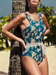 Printed Slim Backless Sexy One Piece Swimsuit