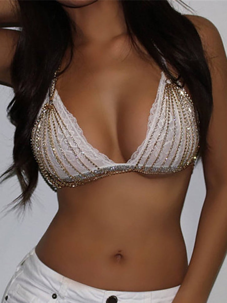Fashion Cutout Diamond-studded Bra Top