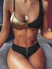 Bright Leather Contrast Zip Bikini High Waist Swimsuit