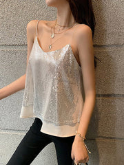 Sequined Mesh Suspender Top