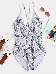 White Abstract Print V-neck Ruffle Trim Backless One-Pieces Swimwear