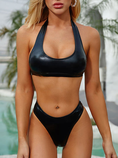PU Material Tight One Piece Swimsuits