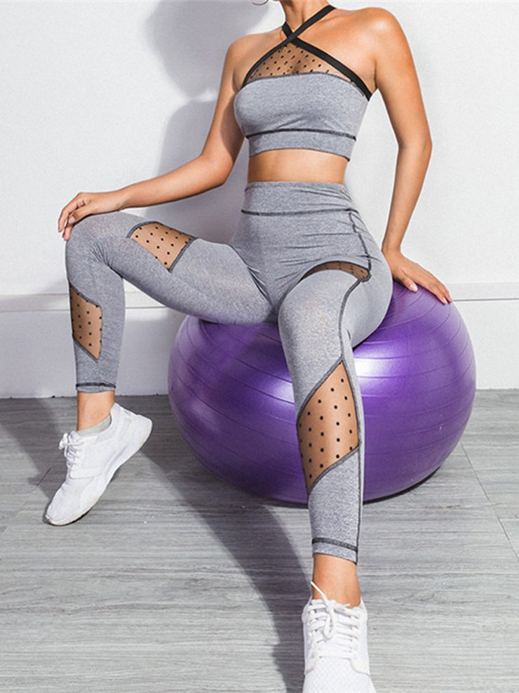High Demand Sexy Mesh Splicing Yoga Suit