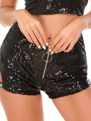 Women's Sexy Sequined High Waist Letter Shorts