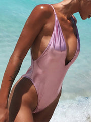 Sexy V-neck Open Back Solid Color One-Pieces Swimsuit