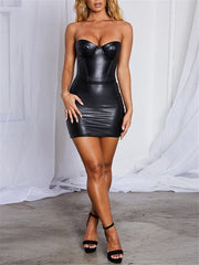 Sexy Tube Top Solid Color PU Leather Mini Dresses