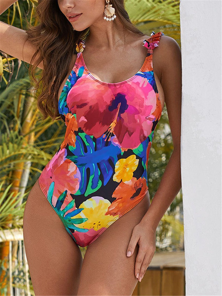 Sexy Sling Wood Ear Stitching Print One Piece Swimsuit