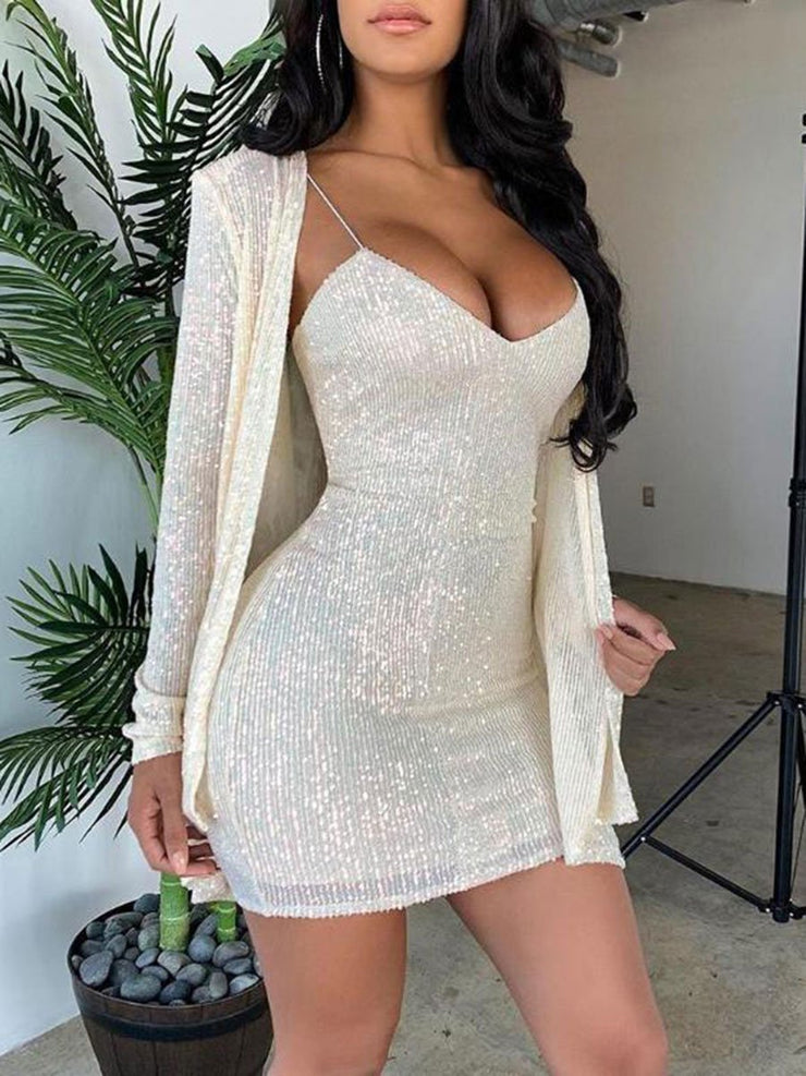 Sequined Long-sleeved V-neck Dinner Sexy Bodycon Dress