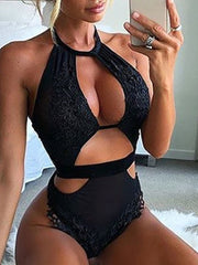 Sexy Black Mesh Thong Bodysuit
