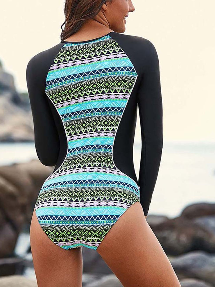 One-pieces Swimwear Zipper  Printed Slim Diving Suit