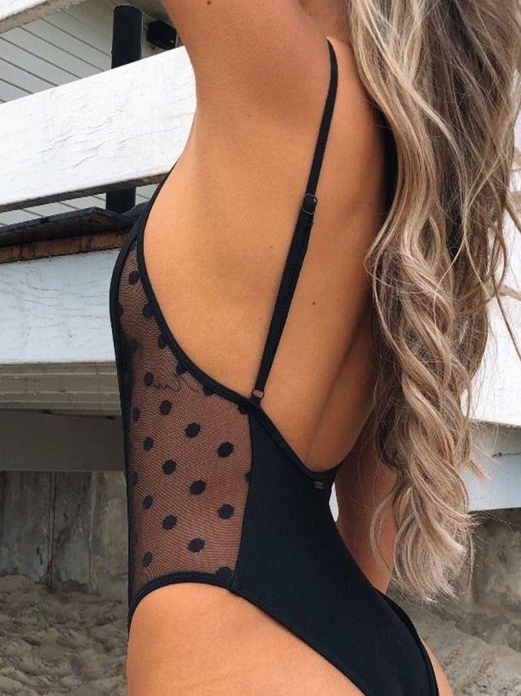 One-piece Lace Black Dots Leak Back Sexy Swimsuit