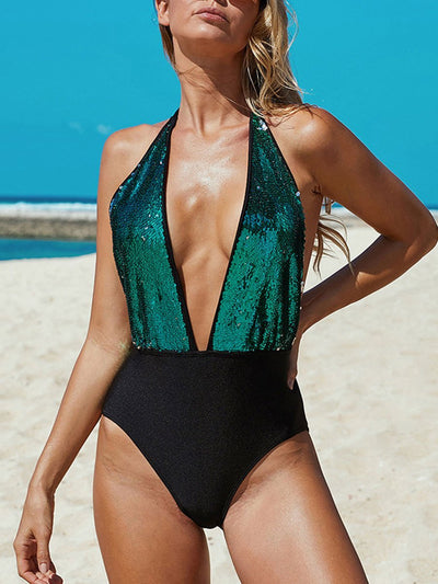 Pure Color Sexy Backless One Piece Swimsuits