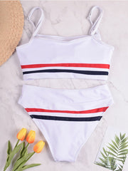 Simple Sling Stripe Stitching Swimsuit