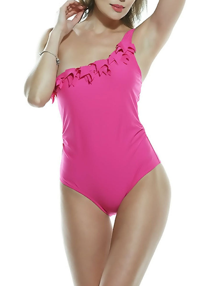 Ruffled Shoulder Sexy One Piece Swimsuits