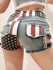 High Waist Hole Nightclub Sexy Flag Shorts