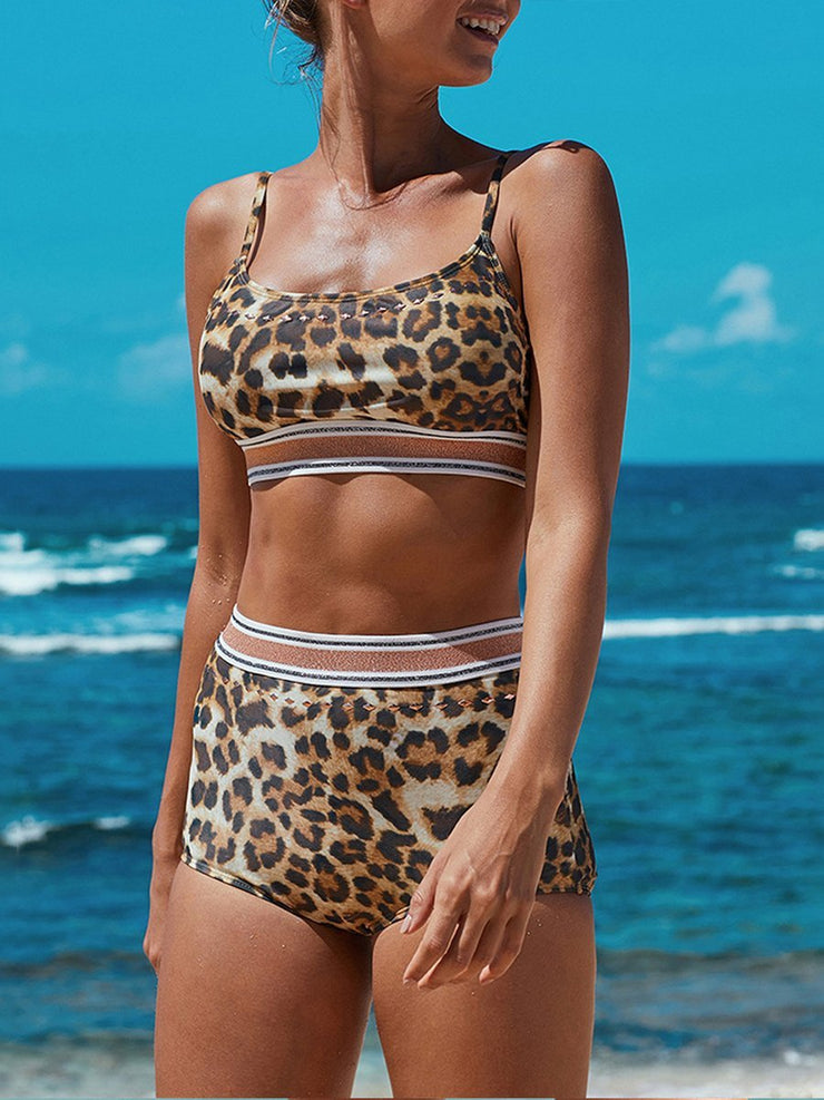 Sexy Solid Color Leopard Split Swimsuit Bikini