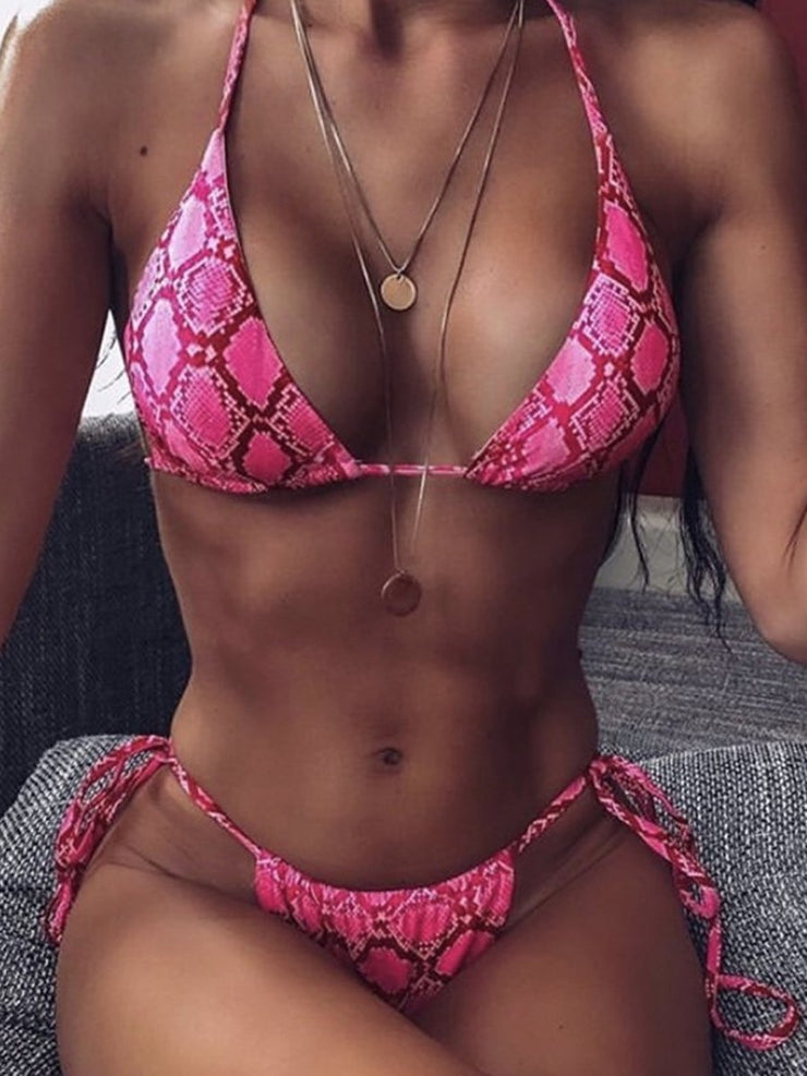 Sexy Ladies Snake Print Lace Up Swimsuit