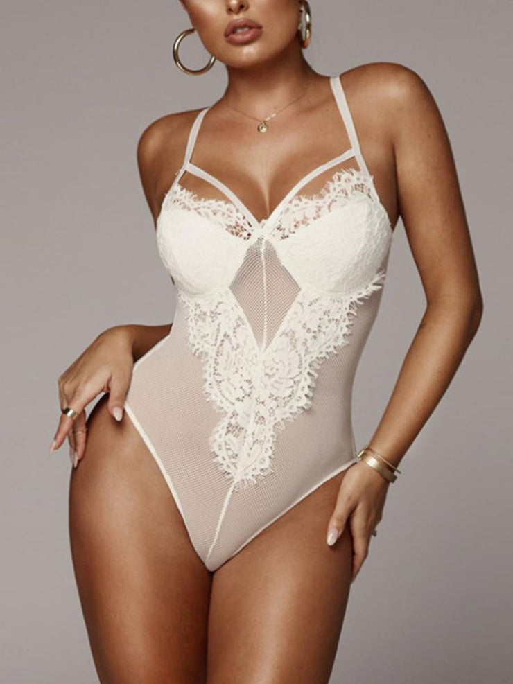 Open Back Hollow Mesh Thong Jumpsuit