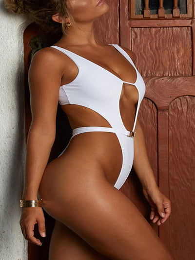 Sexy Siamese Checking Plain One Piece Swimsuits