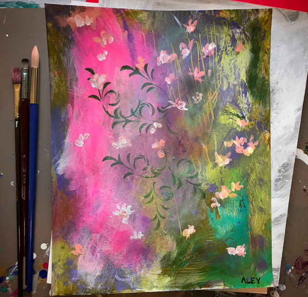 ORIGINAL Impressionistic-Abstract Floral Painting. Title: