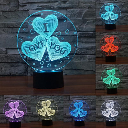 3D HEART I LOVE YOU lamp - 7 colors