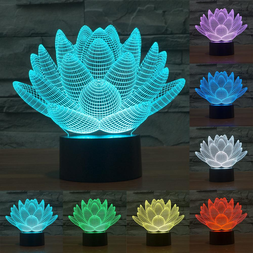 3D Lotus lamp - 7 colors
