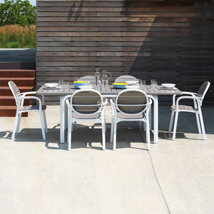 Alloro-Palma Dining Set | White-Taupe - Outdoor Dining Set - Nardi