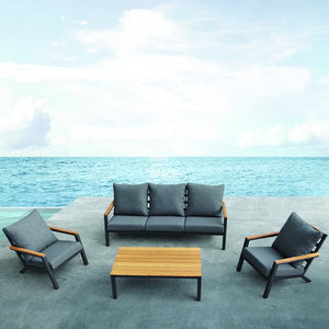 Byron Bay 4 Piece Lounge - Charcoal - Outdoor Lounge - Lifestyle Garden