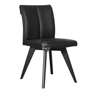 Carmen Chair - Black/Black Leather - Indoor Dining Chair - DYS Indoor
