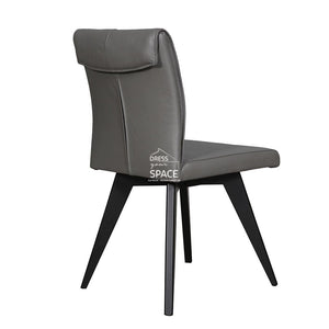 Carmen Chair - Black/Charcoal Leather - Indoor Dining Chair - DYS Indoor