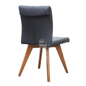 Carmen Chair - Teak/Black Leather - Indoor Dining Chair - DYS Indoor