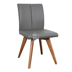 Carmen Chair - Teak/Charcoal Leather - Indoor Dining Chair - DYS Indoor