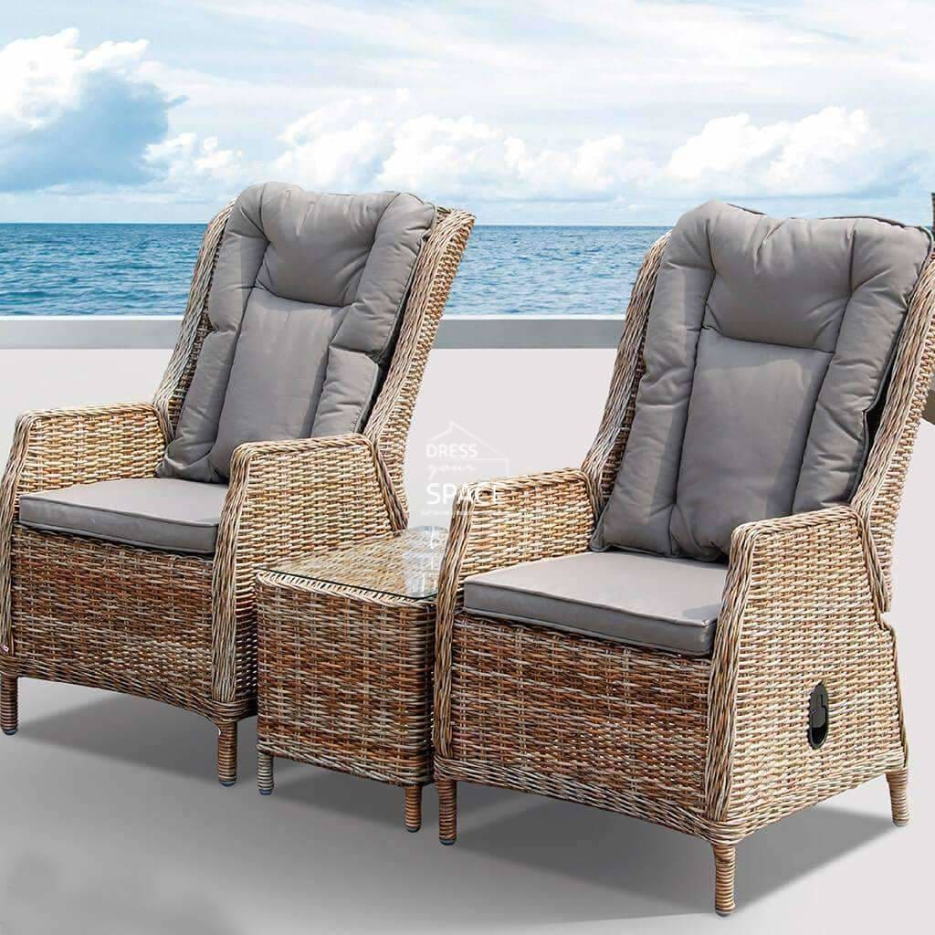 Picture of: Buy Elizabeth Lisbon 3 Piece Recliner Set Zen White By Dys Outdoor Fast Shipping Australia Dress Your Space