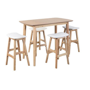 Jackie Breakfast Table & Jackie Bar Stools - 5 Piece Set (White PU) - Indoor Setting - DYS Indoor