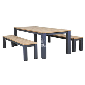 Montreal 3 Piece Teak Set - Charcoal - Outdoor Dining Set - DYS Outdoor