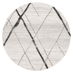 Oasis Noah White Grey Contemporary Round Rug - Indoor Round Rug - Rug Culture