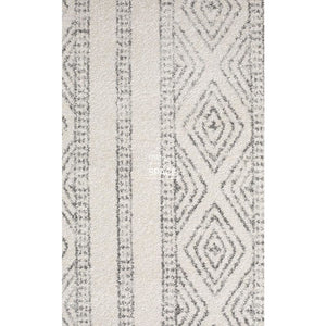 Oasis Salma White And Grey Tribal Runner Rug - Indoor Hallway Runner - Rug Culture
