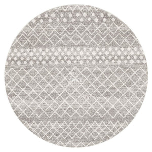 Oasis Selma Silver Tribal Round Rug - Indoor Round Rug - Rug Culture