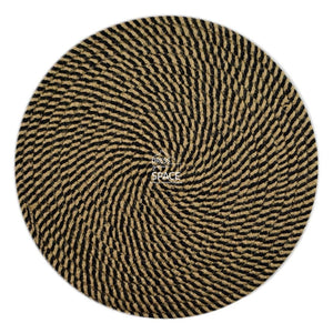 Round Woven Cotton Placemat - Brown Black - Placemat - DYS Homewares
