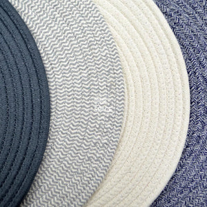Round Woven Cotton Placemat - Navy Blue - Placemat - DYS Homewares